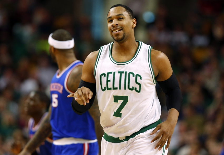 Dec 31, 2014; Boston, MA, USA; Boston Celtics forward Jared Sullinger (7) smiles after making a basket against the Sacramento Kings during the first half at TD Garden. Mandatory Credit: Winslow Townson-USA TODAY Sports